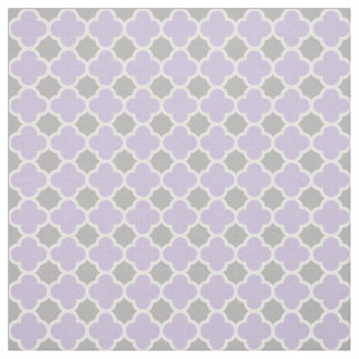 Purple White Gray Quatrefoil Pattern Fabric