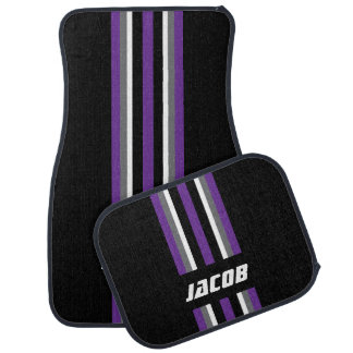 Purple, White, Gray Race Stripes on Black Car Mat