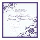 Purple & White Hibiscus Flowers Custom Wedding Card