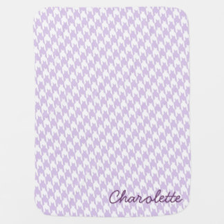 Purple & White Houndstooth Monogram Baby Blanket