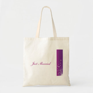 Purple White Just Married Bag
