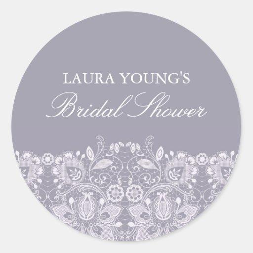 Purple & White Lace | Bridal Shower Sticker