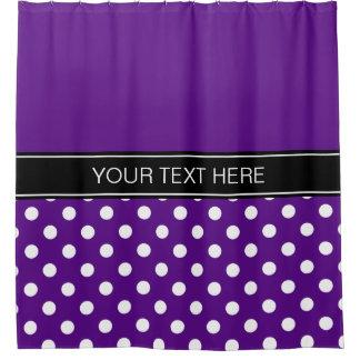 Purple White LG Dot Black CB Name Monogram Shower Curtain