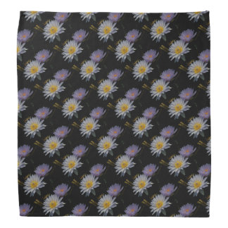 Purple & White Lotus Waterlilies Bandana