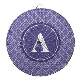 Purple White Monogram Pattern Dart Board