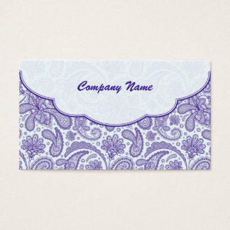 Purple & White Ornate Paisley Pattern Business Card