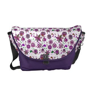 Purple White Paisley Floral Messenger Bags