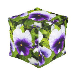Purple White Pansies On Shrub, Full Print Pouffe. Pouf