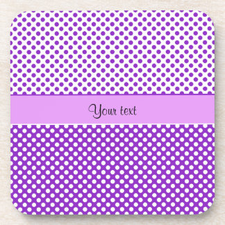Purple & White Polka Dots Beverage Coasters