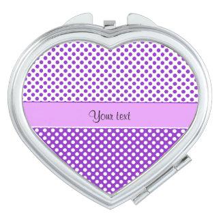 Purple & White Polka Dots Compact Mirror