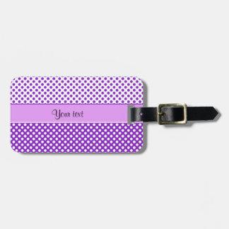 Purple & White Polka Dots Luggage Tag