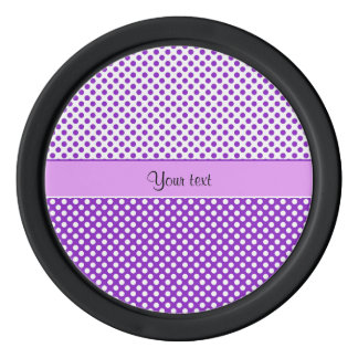 Purple & White Polka Dots Poker Chips