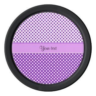Purple & White Polka Dots Poker Chips Set