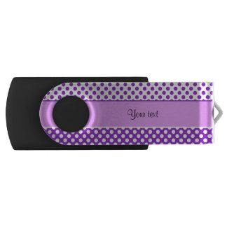 Purple & White Polka Dots USB Flash Drive