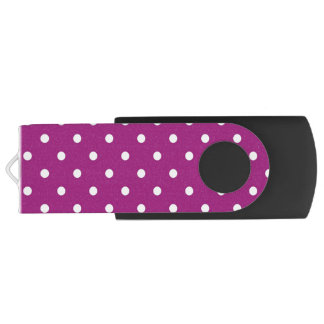 Purple & White Polka Dots, USB Storage Flash Drive Swivel USB 2.0 Flash Drive