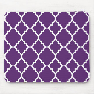 Purple White Quatrefoil Moroccan Pattern Mouse Pad