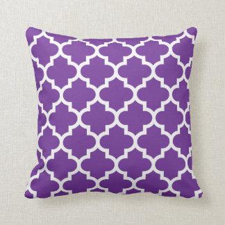 Purple & White Quatrefoil Pattern Pillow Throw Cushions