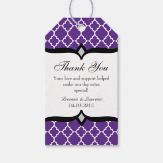 Purple White Quatrefoil Wedding Thank You Tags