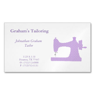 Purple & White Sewing Machine Business Card Magnet Magnetic Business Cards