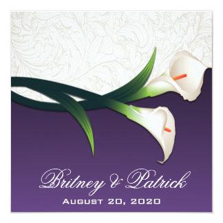 """Purple White Silver Calla Lily Wedding Invitations 5.25"""" Square Invitation Card"""