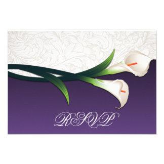 Purple White Silver Calla Lily Wedding RSVP Cards Personalized Invitation