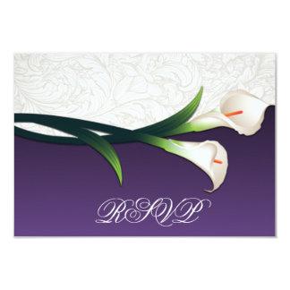 """Purple, White Silver Calla Lily Wedding RSVP Cards 3.5"""" X 5"""" Invitation Card"""