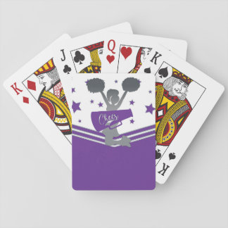 Purple White Silver Stars Cheer Cheer-leading Playing Cards