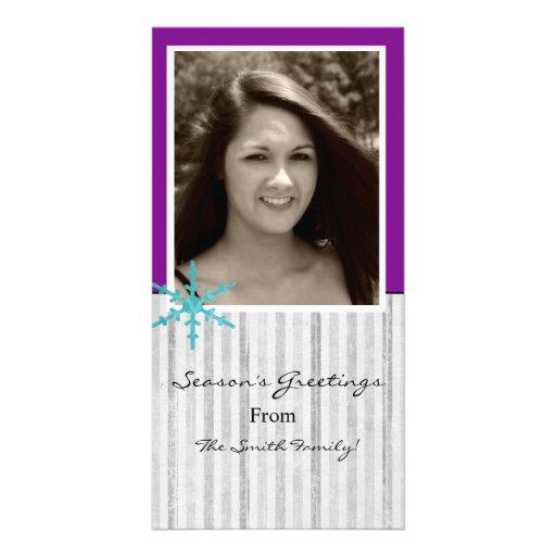 Purple & White Snow Flake Holiday Photo Cards