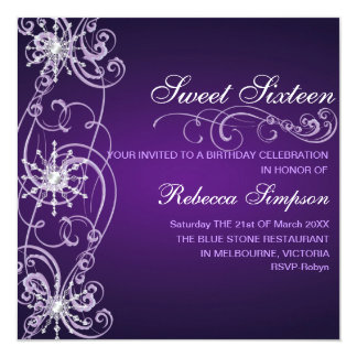 Purple & White Snowflake Sweet 16 Birthday Invite