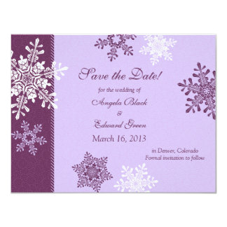 Purple White Snowflake Winter Save the Date Card