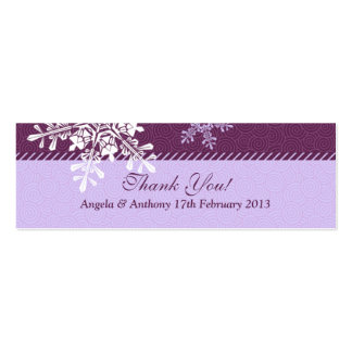 Purple White Snowflake Winter Wedding Favor Tags Business Card Template