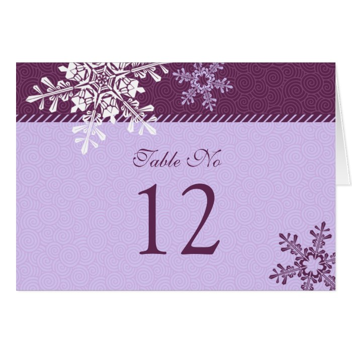 Purple white snowflake winter wedding table card zazzle for Table 52 cards 2014