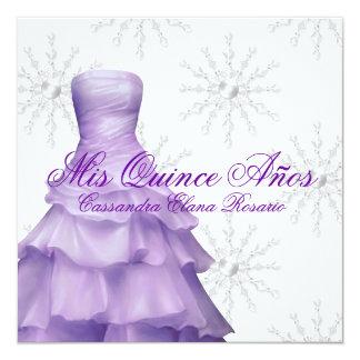 Purple White Snowflakes White Quinceanera 13 Cm X 13 Cm Square Invitation Card