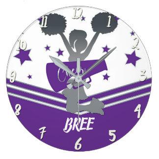 Purple & White Stars Cheer Cheer-leading Girls Large Clock