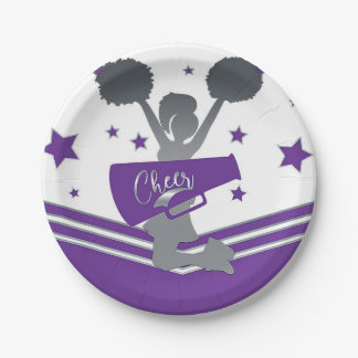 Purple & White Stars Cheer Cheer-leading Party Paper Plate