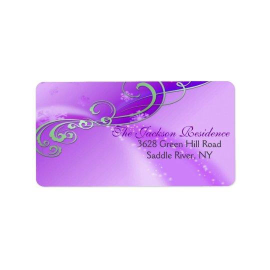 Purple & White Swirl Christmas Address Label