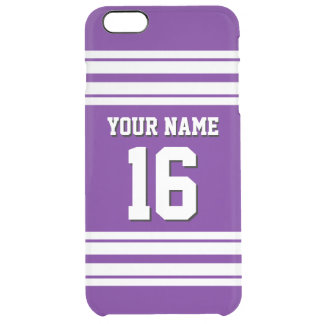 Purple White Team Jersey Custom Number Name Clear iPhone 6 Plus Case