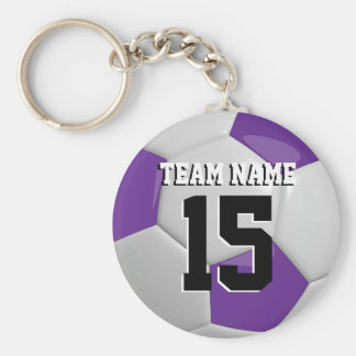 Purple & White Team Soccer Ball Basic Round Button Key Ring