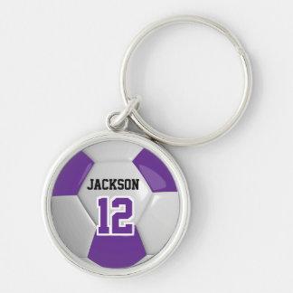 Purple & White Team Soccer Ball Key Ring