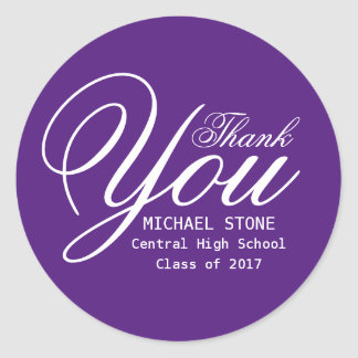 Purple White Thank You Graduation Stickers Custom