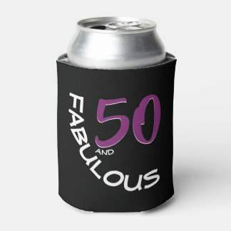 Purple & White Typography 50 and Fabulous Birthday Can Cooler