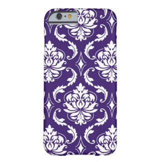 Purple White Vintage Damask Pattern Barely There iPhone 6 Case