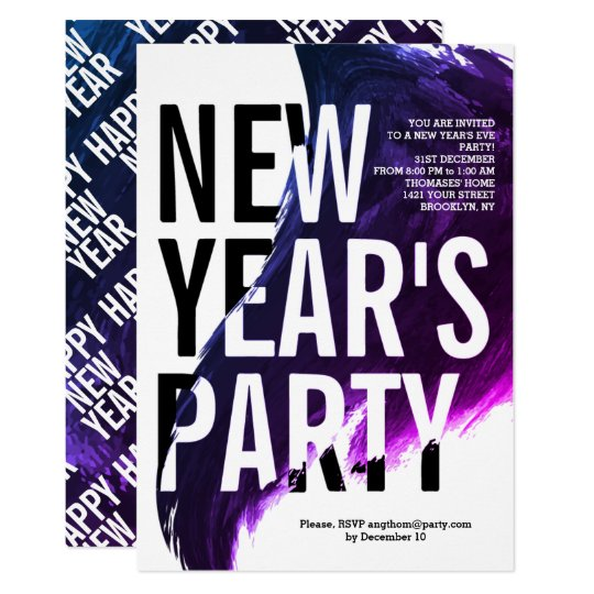 Purple, white watercolor New Year's 2018 Eve party Card