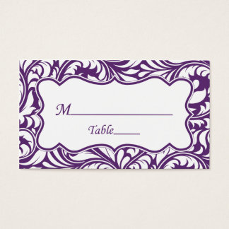 Purple White Wedding Place Cards | Escort Card