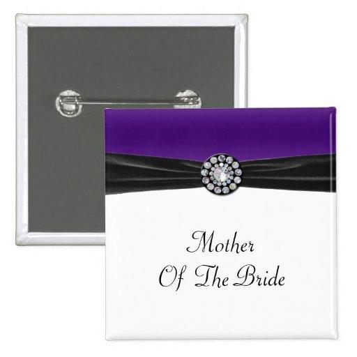 Purple & White With Black Velvet & Diamond Wedding Pinback Buttons