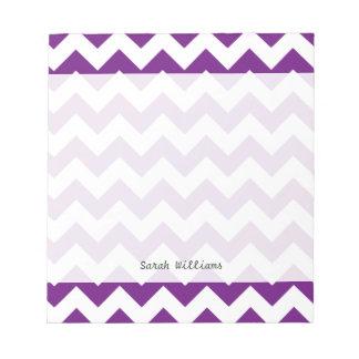 Purple White Zigzag Stripes Chevron Pattern Notepad