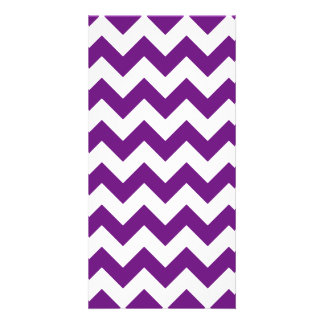 Purple White Zigzag Stripes Chevron Pattern Personalised Photo Card