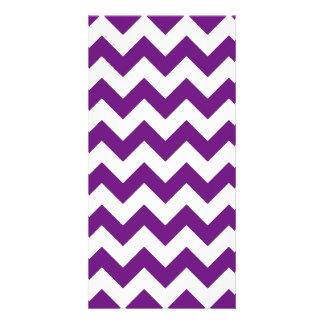 Purple White Zigzag Stripes Chevron Pattern Personalised Photo Card