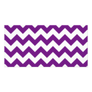 Purple White Zigzag Stripes Chevron Pattern Photo Card