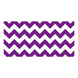 Purple White Zigzag Stripes Chevron Pattern Photo Card